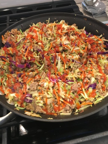 egg roll in a bowl in skillet
