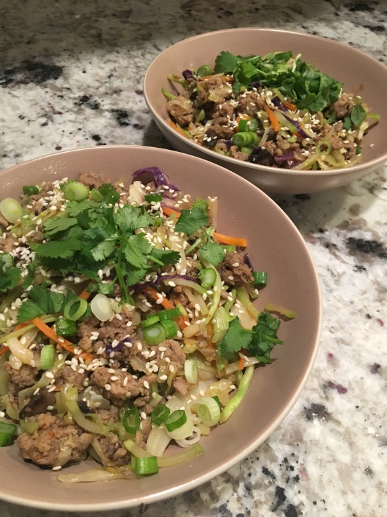 egg roll in a bowl served up