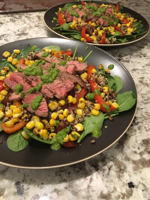 flank steak chimichurri salad