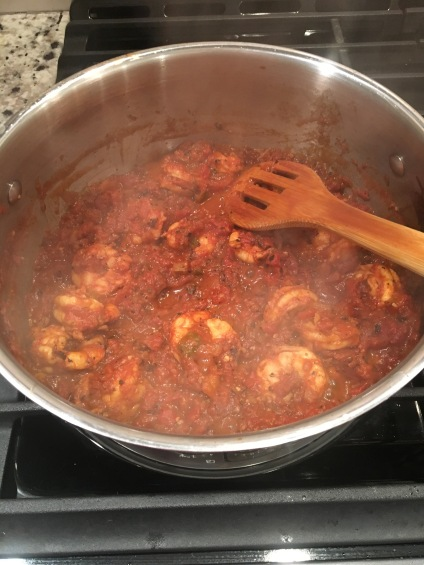 shrimp tomato sauce cooking
