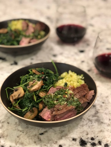 Flank steak basil vinaigrette and wine